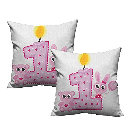 Price comparison product image RuppertTextile Creative Pillowcase 1st Birthday Girls Party Theme with First Candle Bunny and Bear Animals Image Without core W20 xL20 2 pcs