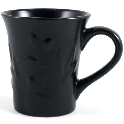 Matte Black Stoneware Embossed Olive Leaf Mug, Set of (Matte Black Leaf)