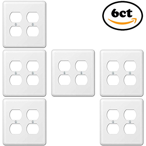 Duplex Wall Plate Electrical Outlet Cover, 2-Gang Standard Size, White, Unbreakable Smooth Steel, Decorative GFCI Receptacle Switch Power Plug 4 Holes Panel Square Faceplate (6 Pack)