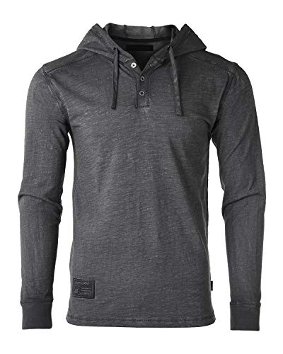 ZIMEGO Long Sleeve Vintage Garment Dyed Lightweight Fashion Hooded Henley - Hoodie Mens Black Motorcycle