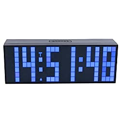 ZJchao Large Big Number Jumbo LED Snooze Wall Desk Alarm Clock Countdown Desk Clock with Remote (Blue, 6-digit)
