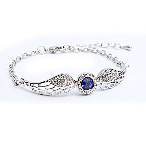 Godyce Angel Wings Bracelet Round Women Girl - White Gold Plated Jewelry