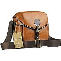 Propado Waterproof PU Leather DSLR Camera Bag Vintage Messenger Sholder Bag with Detachable Shockproof Insert Liner for Women (Brown)