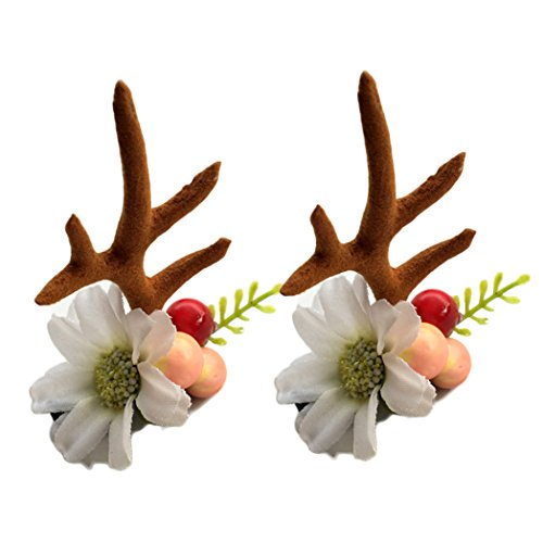 (Girls Hairpins Christmas Antler Deer Horn Hair Clip Barrettes Christmas Gift JHC11 (Antler with)