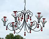 Parasol ~ GRAND CHANDELIER ~ CLEAR ~ 6 Station Hand Blown Glass Hummingbird Feeder - GRCHCL