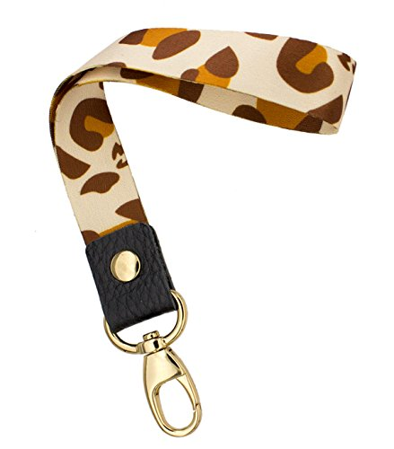 Wrist Strap Original (SENLLY Leopard Print Hand Wrist Lanyard Premium Quality Wristlet Strap with Metal Clasp and Genuine Leather, for Key Chain, Camera, Cell Mobile Phone, Charms, Lightweight Items etc)