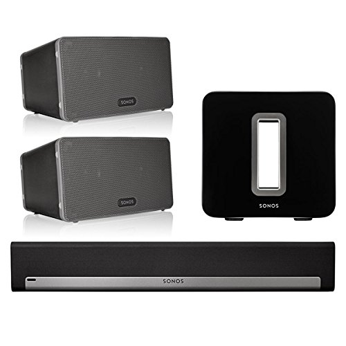 Sonos 5.1 Home Theater System with PLAY:3 (Pair), PLAYBAR, and SUB (Black)