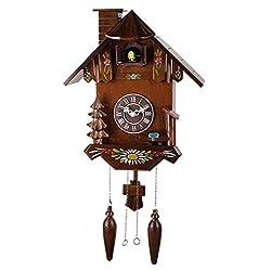 14-inch Classic Rustic wooden chimney Cuckoo Clock, Quartz Timepieces - C00197