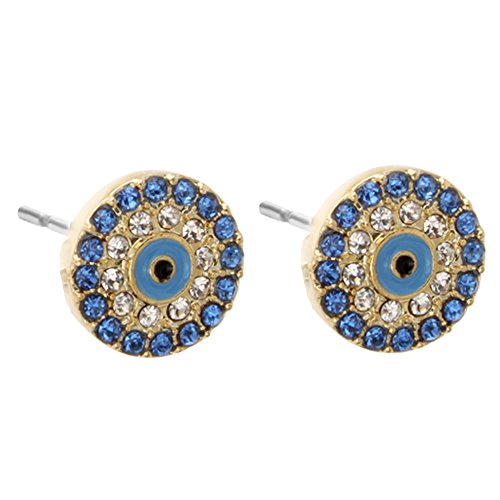 SENFAI Blue Turkey Evil Eye Diameter 11mm Charm Stud Earrings 3 Tone (Rose gold) (Earring, ()