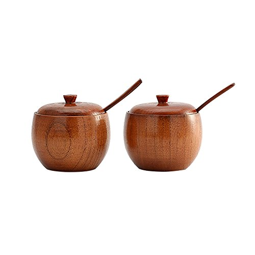 (MyLifeUNIT Natural Wooden Salt box, Condiment Seasoning Storage Container, Spice Box with Spoon, Set of 2)