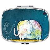 Geometric elephant Rectangular pill box/pill case-• 2 Compartments for Keeping Pills Separate pill box/pill case