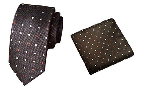 2 Piece Polka Dots Tie (MENDENG Men's Brown Polka Dots Necktie Party Suit Tie Handkerchief 2 Pieces Sets)