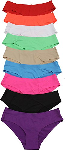 ToBeInStyle Women's Pack of 6 Laser Cut Brief Panties, Multicolored, Size: X-Large