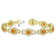 14k Gold Luxury Halo Citrine and Diamond Link Bracelet