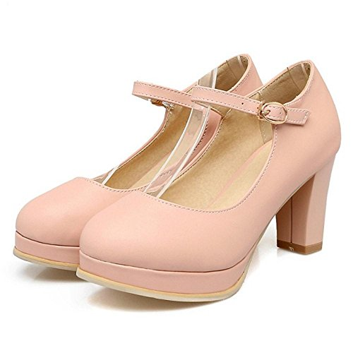 Heel Strap Pumps Women TAOFFEN Mary Block Shoes Jane Shoes Pink Elegant Buckle High wIqzvdxgq