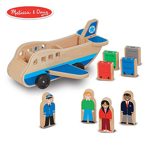 - Melissa & Doug Wooden Airplane Play Set With 4 Play Figures and 4 Suitcases