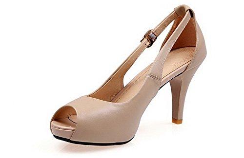 Amoonyfashion Dames Pull On Spikes Stilettos Koe Lederen Solid Peep Toe Sandalen Naakt