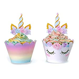 Unicorn Cupcake Decorations, Double Sided Toppers and Wrappers, Rainbow and Gold Glitter Decorations, Cute Girl's…