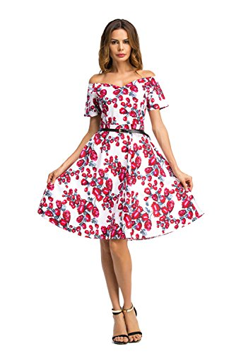 Print Women's Short Line Dress Red A Floral Vintage Elegant Sleeve BessWedding Style 0qHwH5