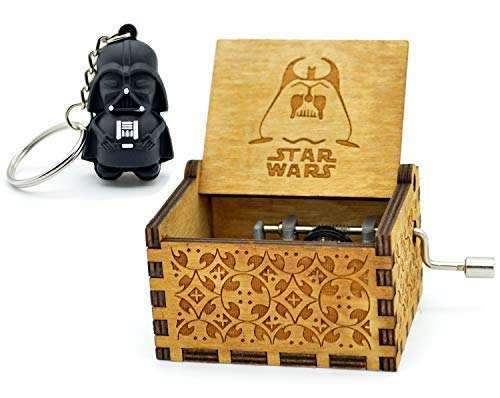 Star Wars Music Box- 18 Note Mechanism Antique Carved Wooden Music Box Crafts Melody Castle in Hand(Star - Box Gift Castle