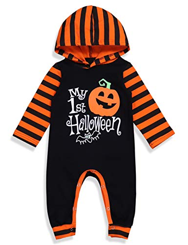 Cheap Halloween Outfit Ideas (Halloween Baby Boy Girl Outfit My First Halloween Pumpkin Hoodie Romper Bodysuit One-Piece Jumpsuit 3-6)