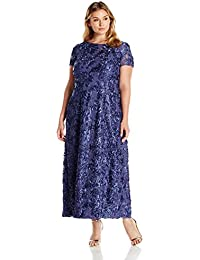 Women's Plus Size Long A-Line Rosette Dress With Short Sleeves