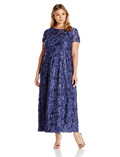 Violet Rosette - Alex Evenings Women's Plus-Size Long A-line Rosette Dress with Short Sleeves, Violet, 18W
