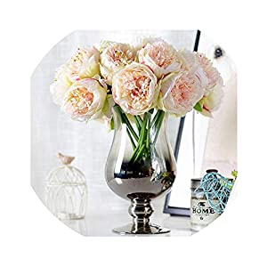 be-my-guest 5 Heads Artificial Flowers Peony Bouquet Silk Peony Flowers Bridal Bouquet Fall Vivid Artificial Flowers for Wedding Home Decoration 20