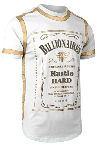 Gold Hipster - JC DISTRO Mens Hipster Elong Whiskey Gold Foil Prints Round Hem Crewneck White T-Shirt 2XL