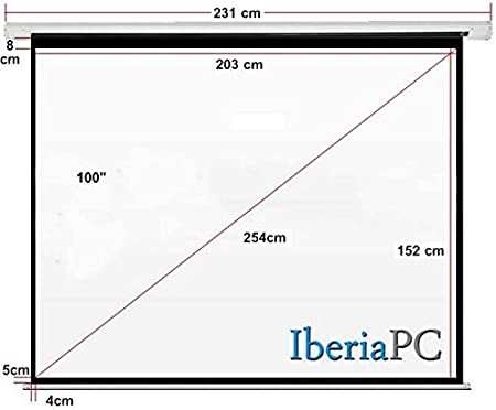 Pantalla proyector eléctrica 94 formato 4:3 (2,04m x 1,78m ...