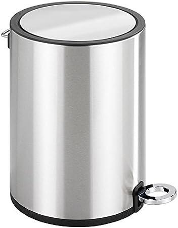Wenko Kosmetik Treteimer Monza 3 Liter, Edelstahl rostfrei, Badezimmer Mülleimer mit Absenkautomatik, kleiner Abfalleimer, integrierter Beutelhalter,