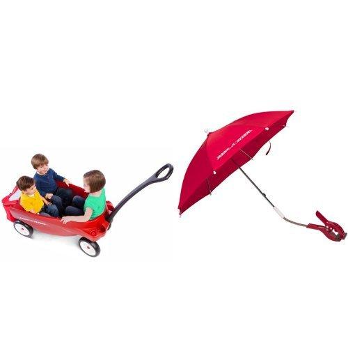 Radio Flyer Triple Play Wagon with Wagon Umbrella Bundle