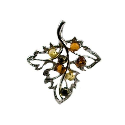 Multicolor Amber Sterling Silver Leaf Pendant