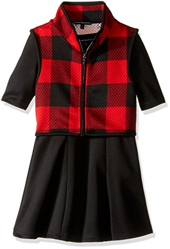 s' Short Sleeve Scuba Fabric Dress with Quilted Plaid Vest with Piping, Black-Red, 8 (Plaid Piping)