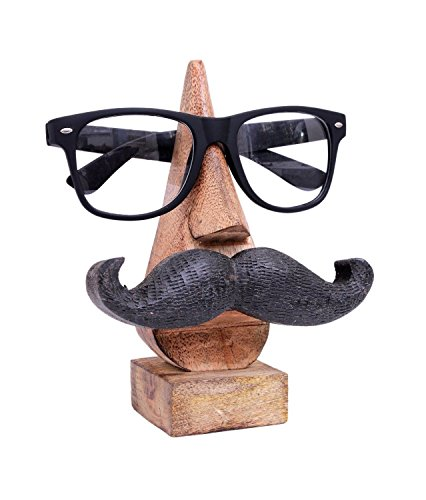 Witty Hand Carved Wooden Eyeglass Spectacle Holder with an Amusing Mustache Home Decorative Store Indya Christmas Thanksgiving - Review Sunglasses Ie