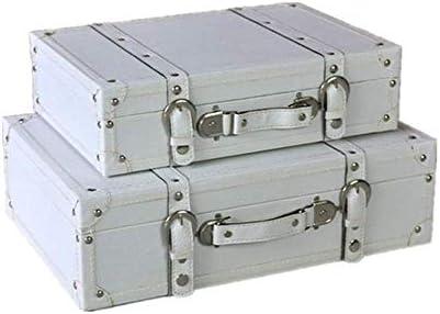 BZM-ZM 2つの装飾的なスーツケース収納ボックスケーススーツケースのためにパーティーの好意のセット、ジュエリー、ギフト(カラー:ホワイト)装飾スタッシュボックス(カラー:ホワイト、サイズ:大+小)