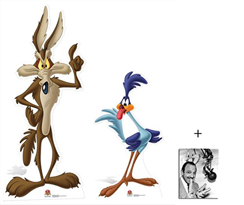Photo Coyote - Fan Pack - Road Runner and Wile E Coyote Looney Tunes Cardboard Cutout / Standee / Standup Double Pack- Includes 8x10 Star Photo