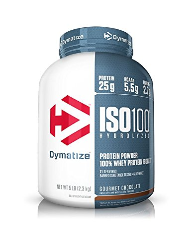 Dymatize ISO100 Hydrolyzed Protein Powder, 100% Whey Isolate Protein, 25g of Protein, 5.5g BCAAs, Gluten Free, Fast Absorbing, Easy Digesting, Gourmet Chocolate, 5 Pound (Dymatize Whey Protein Isolate)