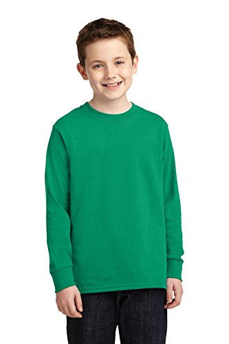 (Port & Company 174 Youth Long Sleeve Core Cotton Tee. PC54YLS Small Kelly)
