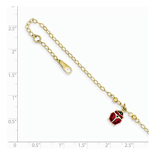Solid 14k Yellow Gold Adjustable Enameled Ladybug Anklet 10