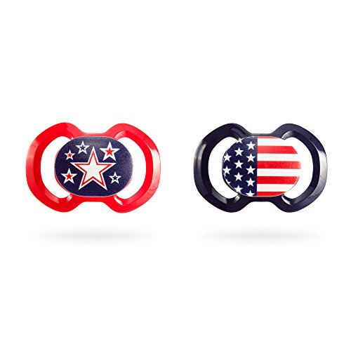 BooginHead Baby Newborn Orthodontic Pacifier Made in Germany, Girl, Boy, Flag, Fireworks, Red White and Blue, Patriotic, USA 2 Pack