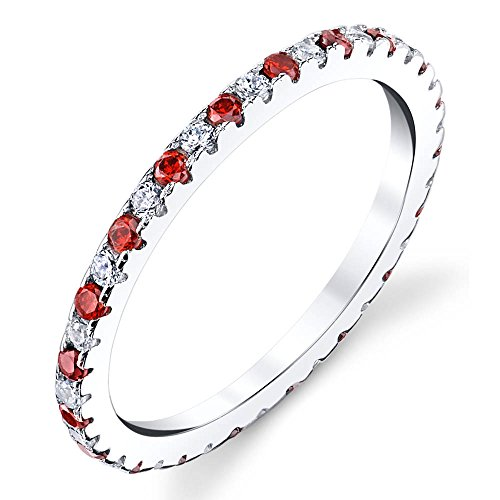 [Solid 925 Sterling Silver Stackable 0.50 Carat TW Ring Micro Pave Wedding Band Eternity Cubic Zirconia Red Ruby and White Diamond CZ] (Created Ruby Eternity Ring)