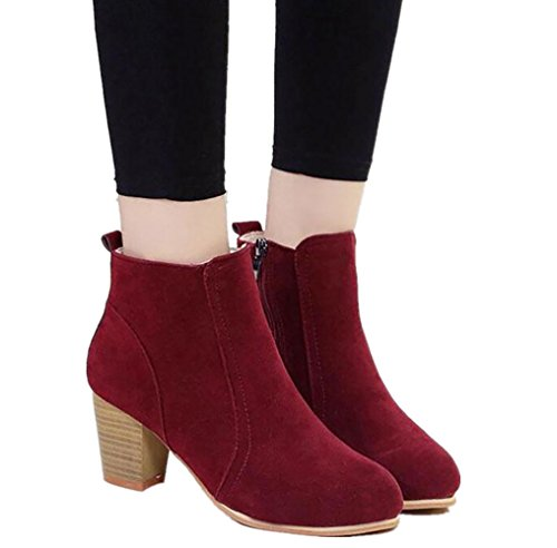Zippers Heels Womens Burgundy Flock Boots Round Casual Martin Toe Block Shele Boots With Shoes OtdxwqPcH4