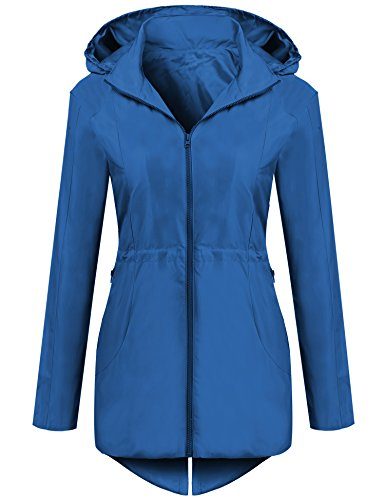 Drawstring Hooded Long Jacket - SummerRio Women's Lightweight Windbreaker Long Hooded Jacket with Drawstring (Royal Blue)  Large