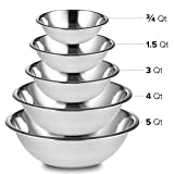 Culinary Depot Mixing Bowls Stainless Steel (Set of 5) Polished Mirror Finish Nesting Bowls ¾, 1 ½, 3, 4, and 5 Quart - Cooking Supplies