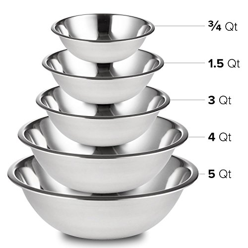 5 Piece Mixing Set (Professional Stainless Steel Mixing Bowls SET of 5 for Cooking, Baking, Food Preparation. Polished Mirror Finish in Most Popular Sizes for Use & Stacking Nested 3/4-1.5 - 3-4 - 5 Quart)