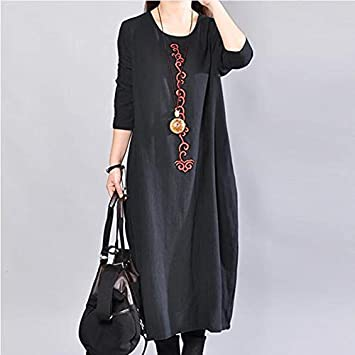 Autumn Water Autumn Winter Long Sleeve Maxi Dress Women Vintage Cotton Linen Dress Loose Solid Elegant