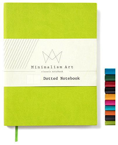 Minimalism Art, Soft Cover Notebook Journal, Composition B5 Size 7.6 X 10 inches, Lime Green, Dotted Grid Page, 192 Pages, Fine PU Leather, Premium Thick Paper - 100gsm, Designed in San Francisco
