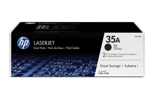 HP 35A (CB435A) Black Toner Cartridge, 2 Toner Cartridges (CB435D)  for HP LaserJet P1005