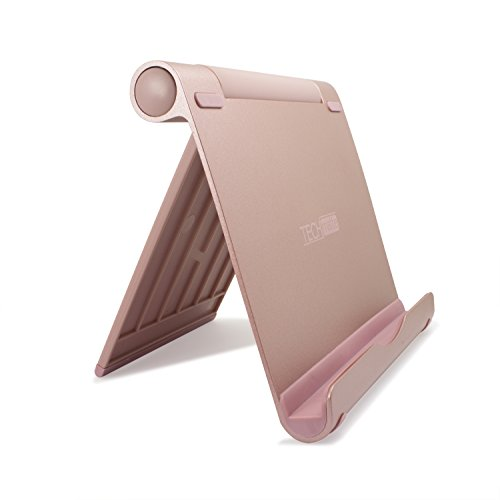 TechMatte iPad Pro Stand, Multi-Angle Aluminum Holder for iPad Pro 12.9 10.5 9.7 inch Tablets, E-Readers and Smartphones - XL-Size Stand (Rose Gold)